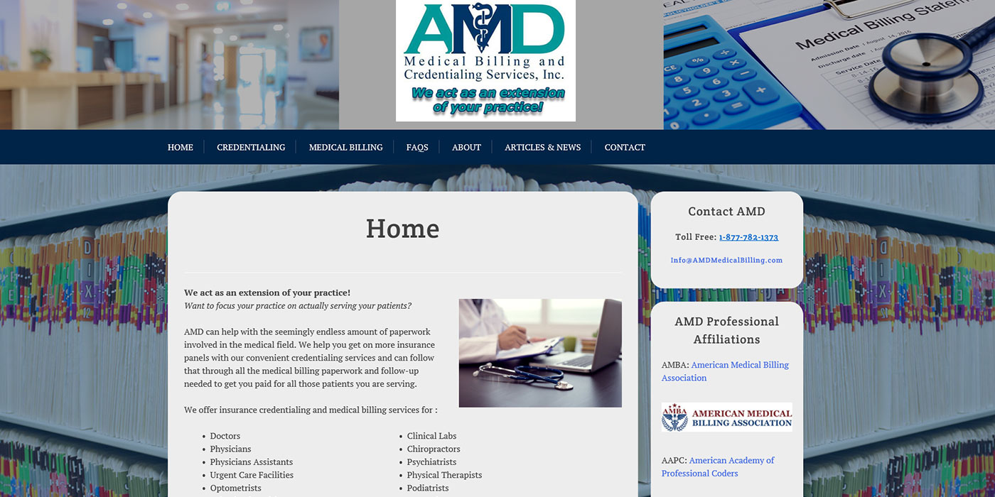 AMD Medical Billing and Credentialing Services, Inc. Web design sample