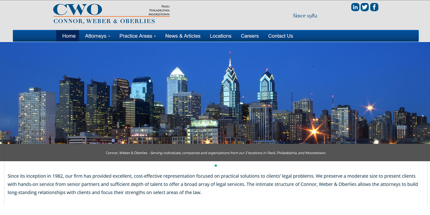 Connor, Weber & Oberlies Law Website Design Sample